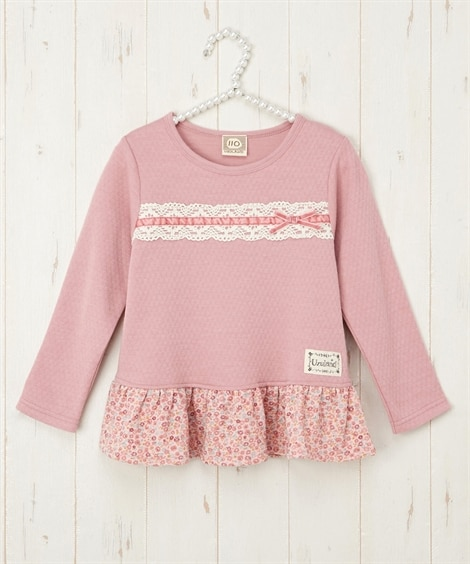 【UZULAND】レースリボン付Tシャツ(女の子 子供服) ...
