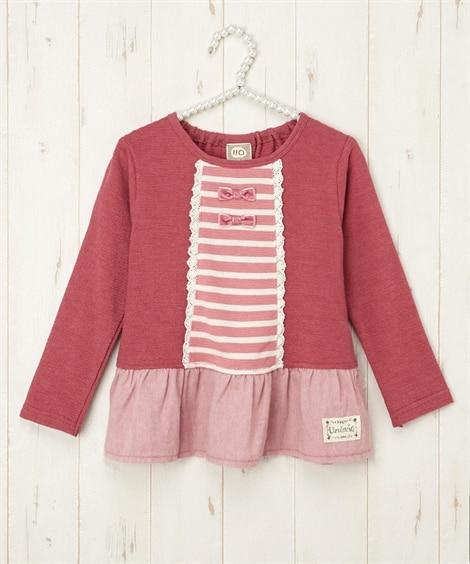 【UZULAND】ボーダー切替Tシャツ(女の子 子供服) T...