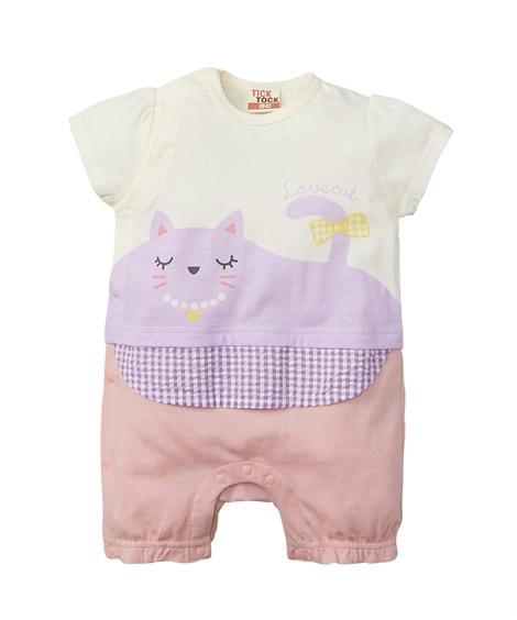 ねこプリント 重ね着風半袖カバーオール(ベビー服・子供服 女の子) 【ベビー服】Babywear