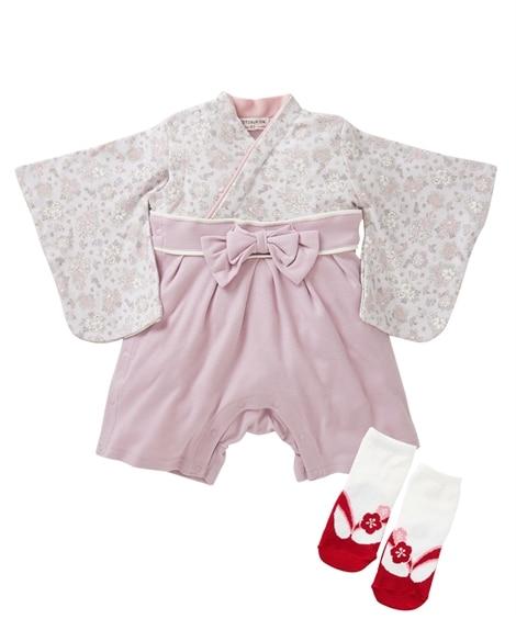 袴カバーオール+ソックス2点セット(ベビー服・子供服 女の子) 【ベビー服】Babywear