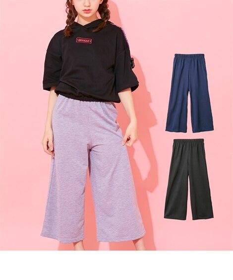 4591cccfce218 ミニ裏毛8分丈ワイドパンツ(女の子 子供服・ジュニア服) 通販 ニッセン