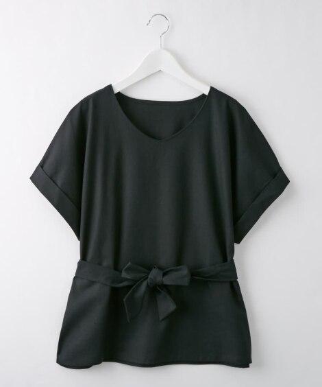 【麻混 カセット服シリーズ】ウエストリボンブラウス(セットア...