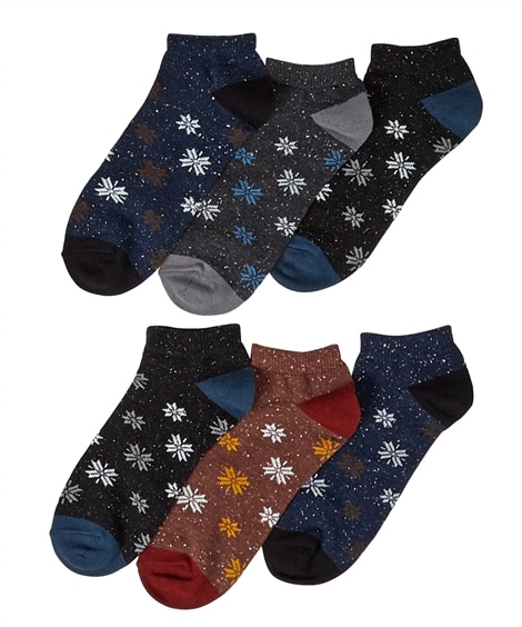 雪柄ネップショートソックス6足組 メンズ靴下, Men's ...