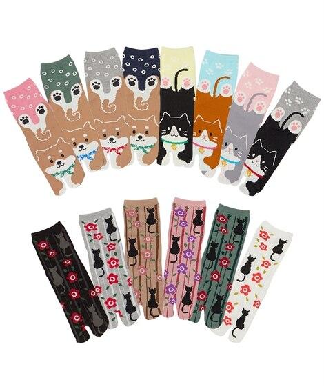 【WEB限定】【おまかせセット】日本製 犬と猫柄足袋クルー丈...