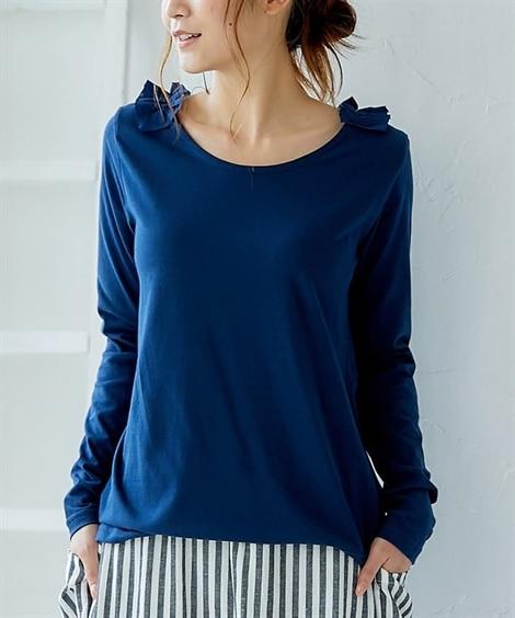 ゆったりサイズ フリルネック長袖Tシャツ (Tシャツ・カット...