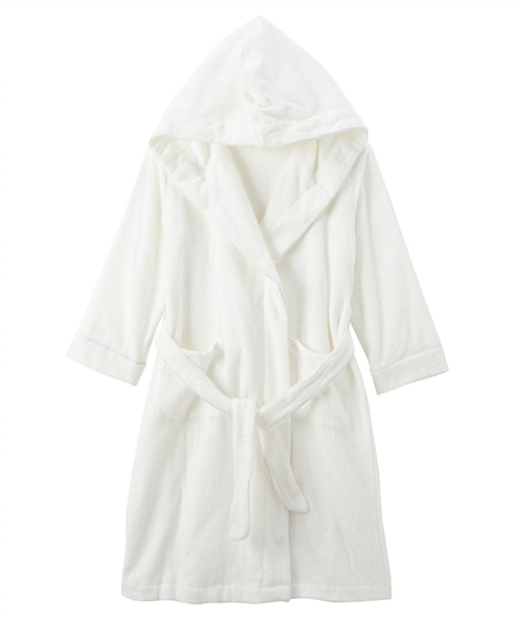 【WEB限定】綿混タオル地で作ったフード付きバスローブ (パジャマ・ルームウェア)Pajamas