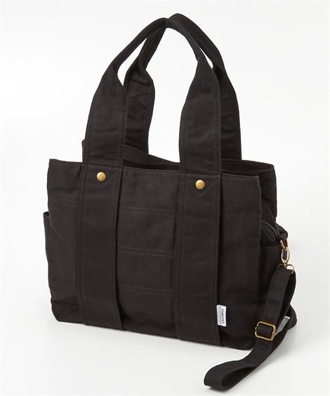 肩ひも長め3室構造の2WAYキャンバストートバッグ(A4対応) トートバッグ・手提げバッグ, Bags
