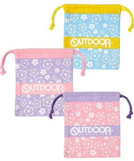 【OUTDOOR】綿100%ミニ巾着3枚組 男の子・女の子 ポーチ・巾着・移動ポケット