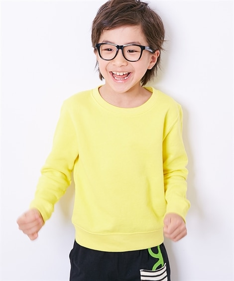 無地クルーネックスウェットシャツ(男の子 女の子 子供服 ジ...
