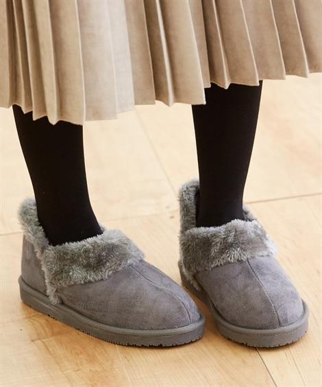 ムートン調スリッポンシューズ シューズ(フラットシューズ)...