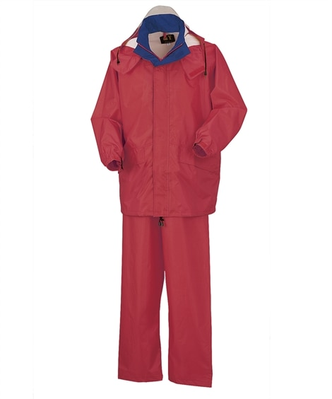 KURODARUMA 47400 着脱式フード付き反射材テープ衿配色レインコート。パンツ レインウェア・合羽・ヤッケ