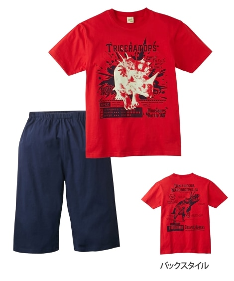 綿100% 光るプリントパジャマ(半袖Tシャツ+ハーフパンツ...