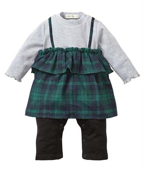 キャミ重ね着風長袖カバーオール(女の子 子供服。ベビー服) 【ベビー服】Babywear