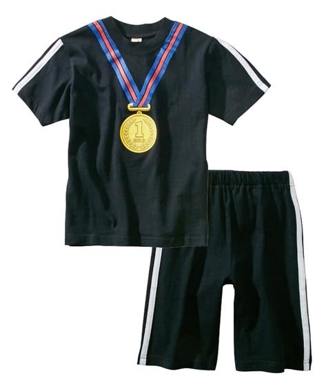 暗いところで光る!メダルプリント半袖パジャマ(男の子 女の子...
