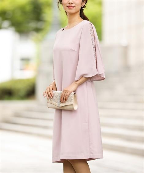 レース使いフレア袖ワンピースドレス【結婚式。二次会。お呼ばれ...