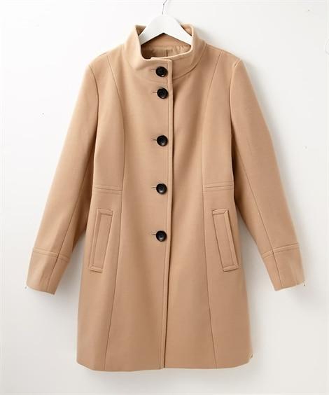 配色ボタンスタンドカラーコート (コート)(レディース)Coat