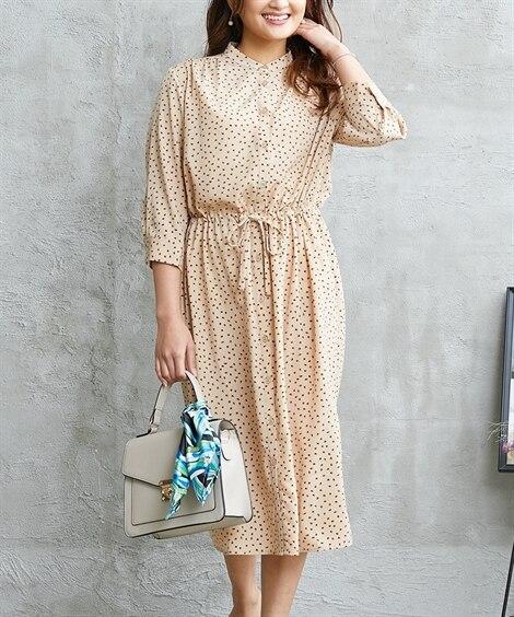 小さいサイズ 幾何学柄2WAYスタンドカラー7分袖シャツワンピース 【小さいサイズ・小柄・プチ】ワンピース, Dress