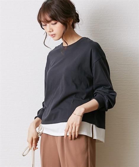 Tシャツ重ね着風バルーン袖プルオーバー (Tシャツ・カットソ...