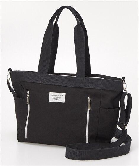 肩ひも長め10ポケット2WAYキャンバストート(A4対応) トートバッグ・手提げバッグ, Bags
