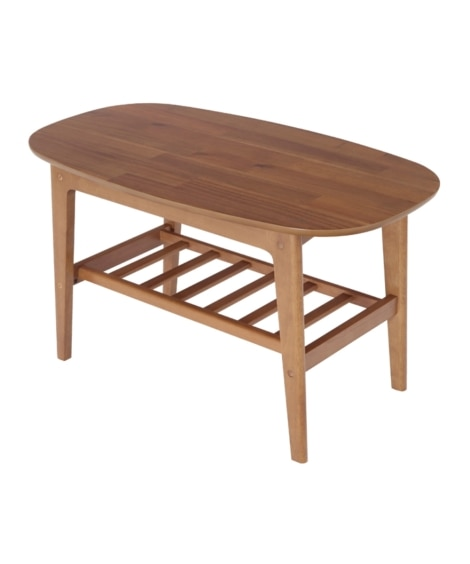 北欧調のやさしい木目の棚付センターテーブル ローテーブル・リ...