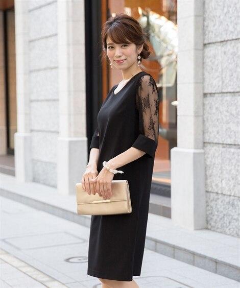 袖チュールレース使いVネックワンピースドレス【結婚式。二次会...