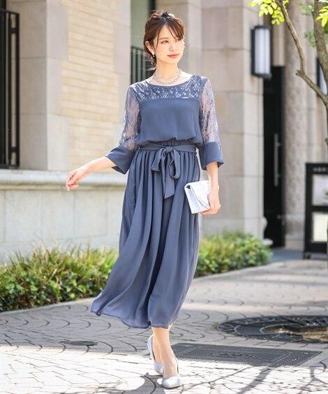 チュールレース使いロングワンピースドレス【結婚式。二次会。お...