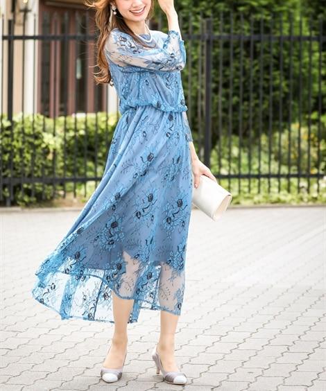 花柄レース使いワンピースドレス【結婚式。二次会。お呼ばれ対応...