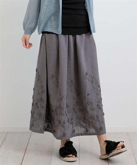 3Dレース刺しゅうスカート (ロング丈・マキシ丈スカート),...