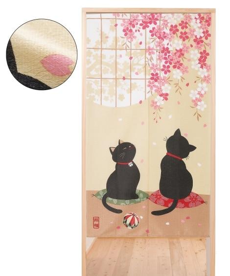 桜黒猫のれん のれん・カフェカーテン...