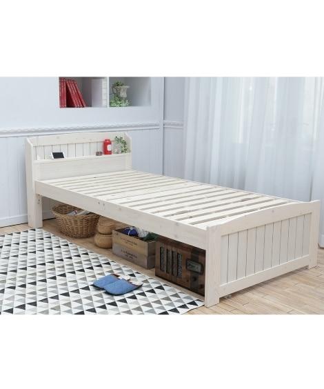 布団が干せる棚付天然木すのこベッド すのこベッド・畳ベッド