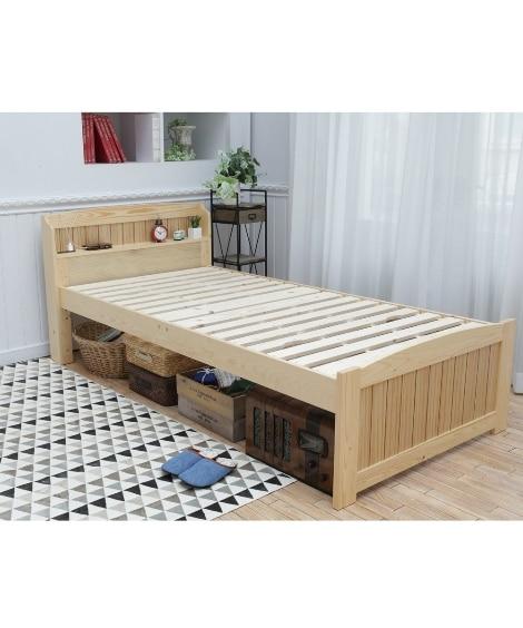 布団が干せる棚付天然木すのこベッド すのこベッド・畳ベッド...
