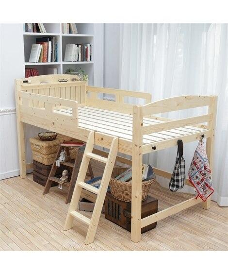 棚付天然木すのこロフトベッド ロフトベッド・2段ベッド(ニッ...