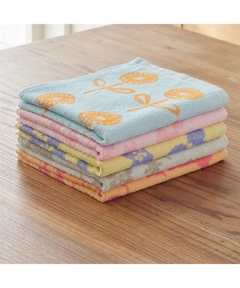 北欧風フラワー柄 毎日フェイスタオル5枚セット フェイスタオル, Towels(ニッセン、nissen)
