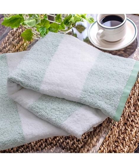泉州タオルの透かし織技法が繊細なボーダーバスタオル 同色2枚セット バスタオル, Towels(ニッセン、nissen)