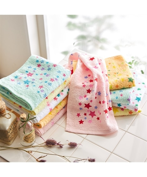 乾きやすい星柄フェイスタオル10枚セット フェイスタオル, Towels(ニッセン、nissen)