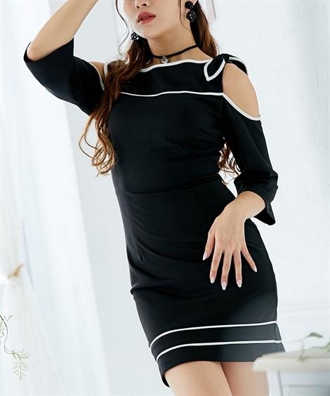 オフショルダータイトキャバドレス(タイトワンピース。ショルダーリボン。3サイズ。ブルーグレー。黒)