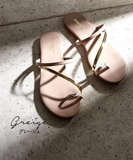 斜めストラップデザインサンダル サンダル, Sandals