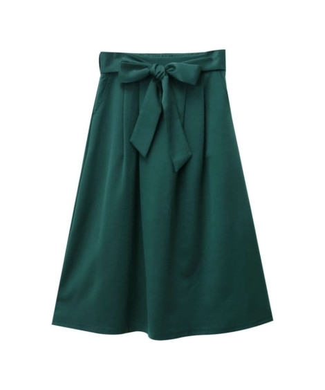 カラー展開豊富♪大人のキレイ目リボン付フレアスカート (ひざ...