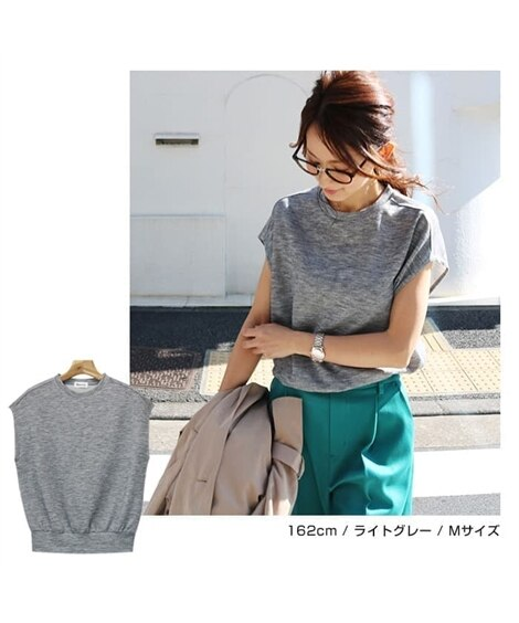 クルーネックフレンチスリーブプルオーバー (Tシャツ・カット...
