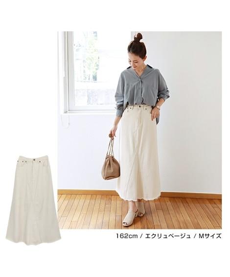ツイルフレアロングスカート(後ゴム) (ロング丈・マキシ丈スカート)Skirts