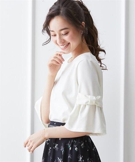 リボン袖厚手ポンチ素材トップス (Tシャツ・カットソー)(レ...