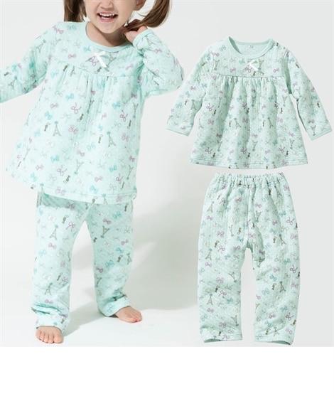 女の子ニットキルトパジャマ(女の子 子供服) キッズパジャマ...