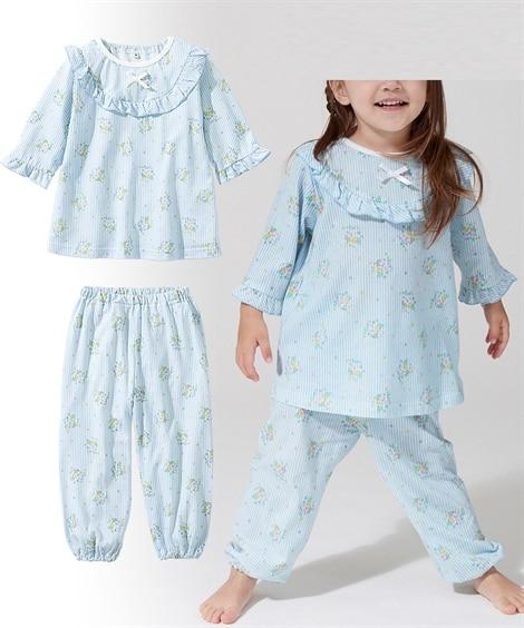 綿100%フェミニンフリルチュニックパジャマ キッズパジャマ, Kids' Pajamas