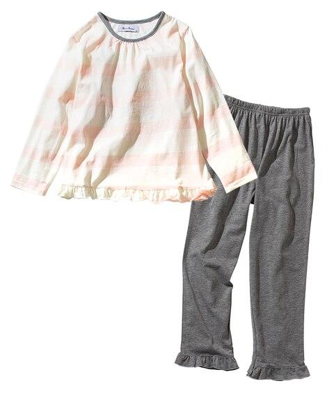 天竺ボーダー長袖パジャマ(女の子 子供服) キッズパジャマ,...