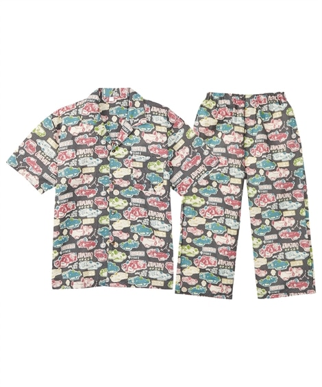 リップル総柄プリント半袖前開きパジャマ(半袖シャツ+7分丈パンツ) メンズパジャマ, Men's Pajamas