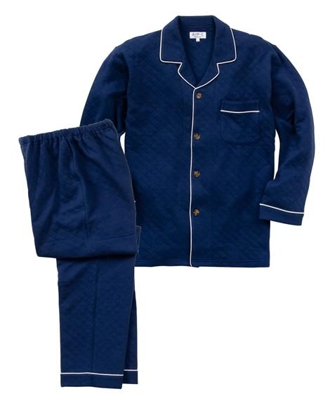 表裏綿100%キルティング前開きパジャマ(長袖シャツ+ロングパンツ) メンズパジャマ, Men's Pajamas