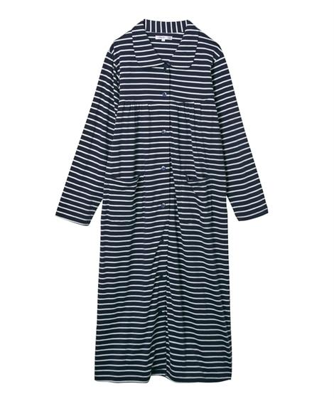 【WEB限定】夏の綿100%パジャマ 薄手がうれしい長袖シャツワンピースパジャマ (パジャマ・ルームウェア)Pajamas