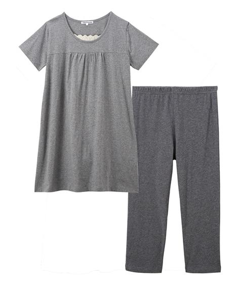 【WEB限定】夏の綿100%パジャマ 薄手がうれしい半袖チュニック+ボトムセット (パジャマ・ルームウェア)Pajamas