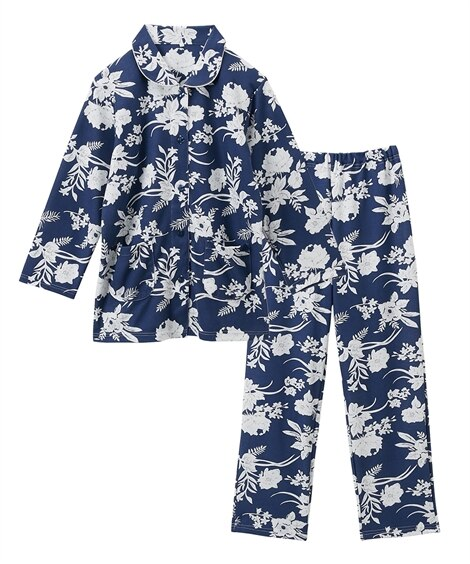 【WEB限定】やわらかニット花柄前開き長袖シャツパジャマ(M) (パジャマ・ルームウェア)Pajamas