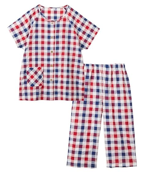 綿100%襟無半袖シャツパジャマ(サッカー)(3L) (パジャマ・ルームウェア)Pajamas